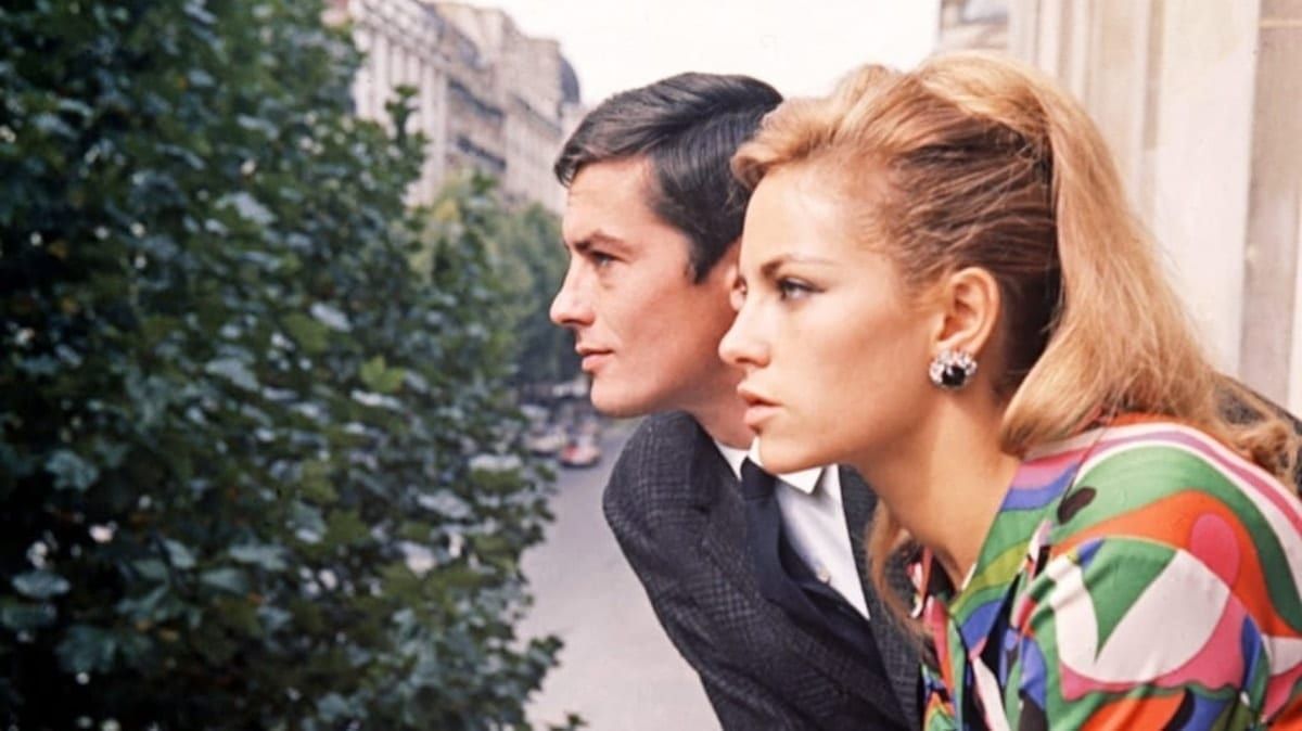 Alain Delon with wife Nathalie in Paris